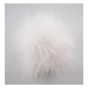 Kunstfell Pompon mit Druckknopf - 401 white snow