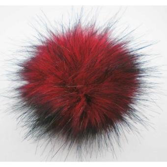 Kunstfell Pompon mit Druckknopf - 411 red