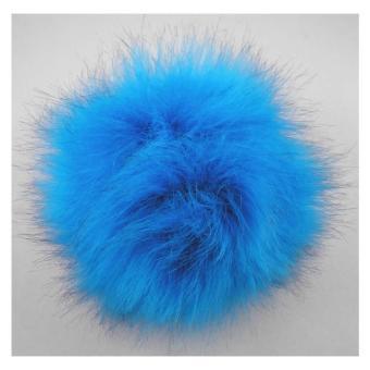 Kunstfell Pompon mit Druckknopf - 416 blue